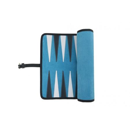 Hector Saxe Paris VICTOR TRAVEL LEATHER/VELVET BACKGAMMON - TURQUOISE
