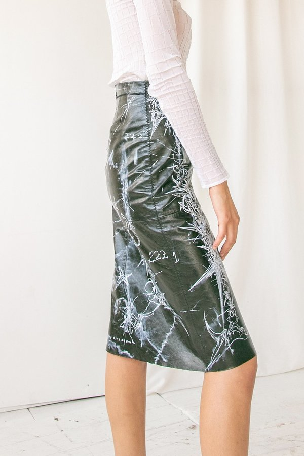 Willow O'Toole Hand Painted Leather Skirt
