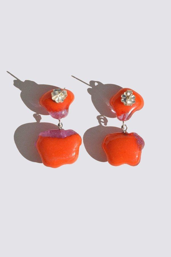 Leigh Miller Glass Rope Earrings - Cayenne/Lavender
