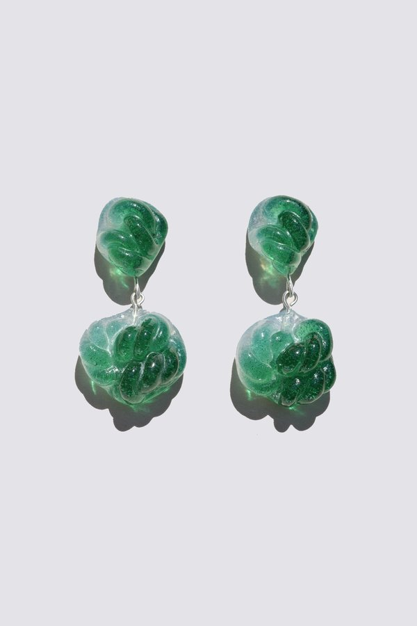 Leigh Miller Emerald and Opal Glass Rope Earrings