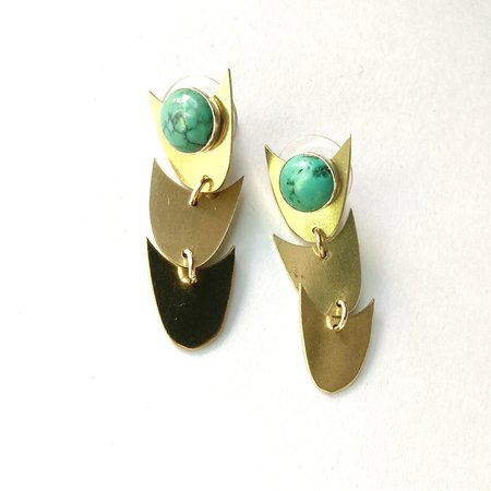 Rebekah J Designs Evergreen Stone Earrings - Brass/Turquoise