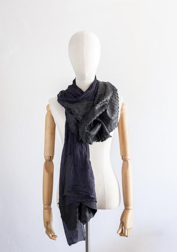 Claudio Cutuli Scalloped Leather Silk Scarf - Black/Navy