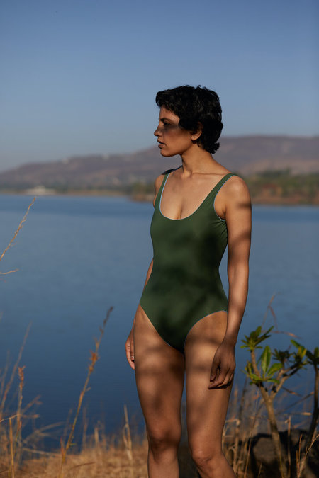 The Summer House Maram One Piece - Forest Green/Sky Blue