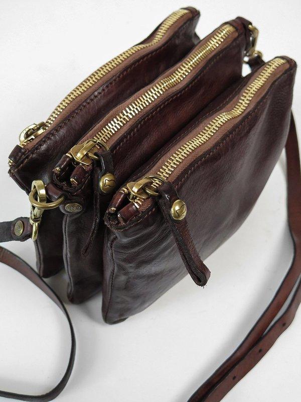 Campomaggi Triple Zip Crossbody Bag - Moro