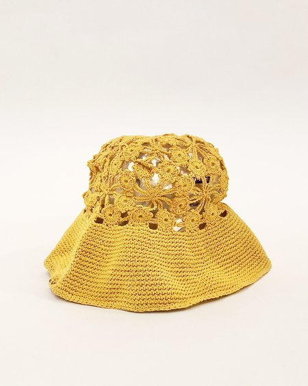 Persons Floral Crochet Hat - Canary