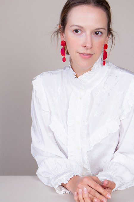 Peppertrain Jo Earrings - Red/Fuchsia Marble