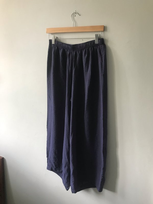 cut-loose Rayon Cropped Pants with Darts - Night Sky