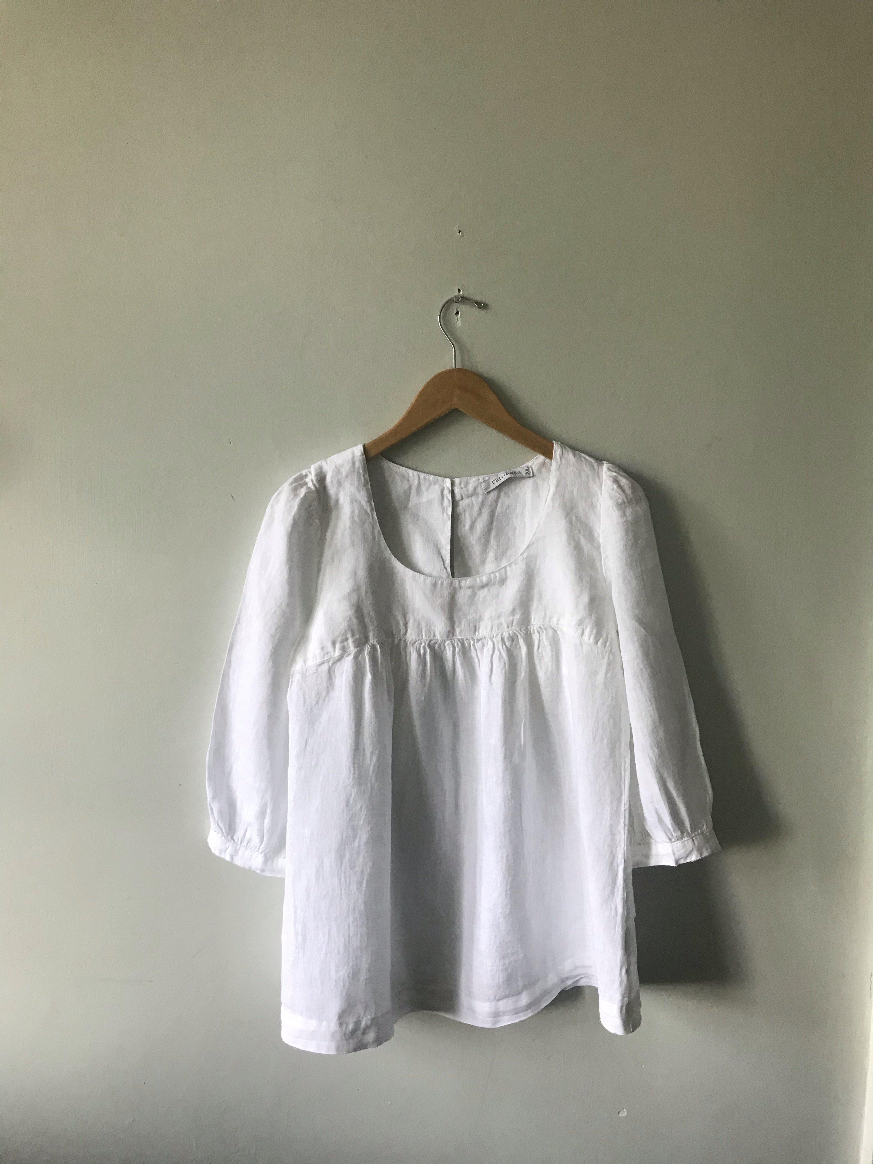 Cut Loose Hanky Peasant Blouse White Garmentory