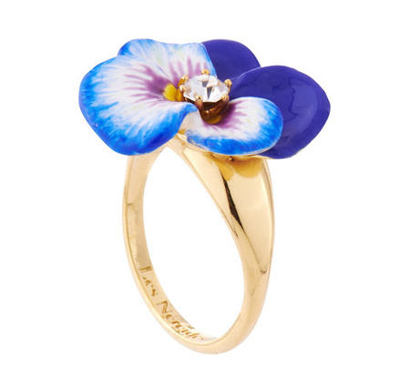 Les Nereides Blue Pansy Ring Small - Gold Fill