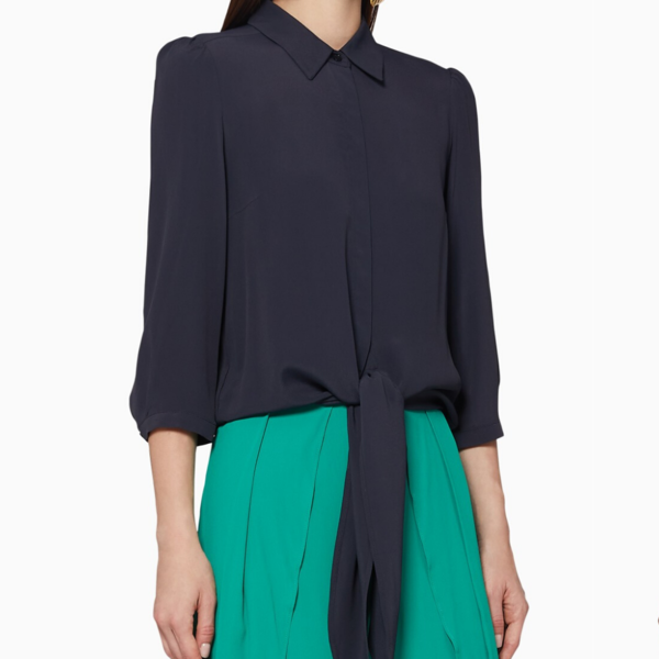 Marella Dalila Tie-front Silk Shirt - Midnight Blue