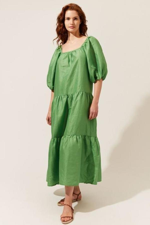 Solid and Striped Peasant Dress - Palm