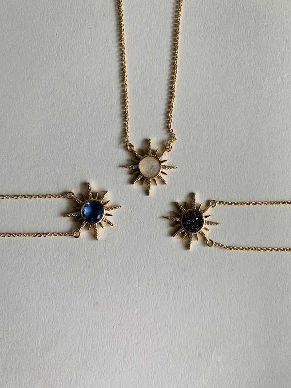 Elizabeth Stone Gemstone Starburst Necklace with Black Druzy