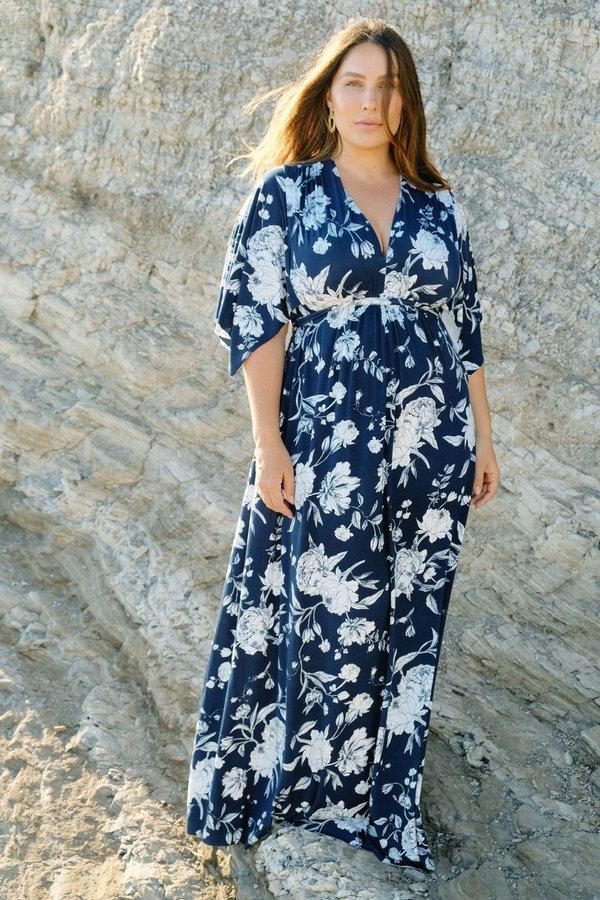 White Label Long Caftan Dress - Navy Rose