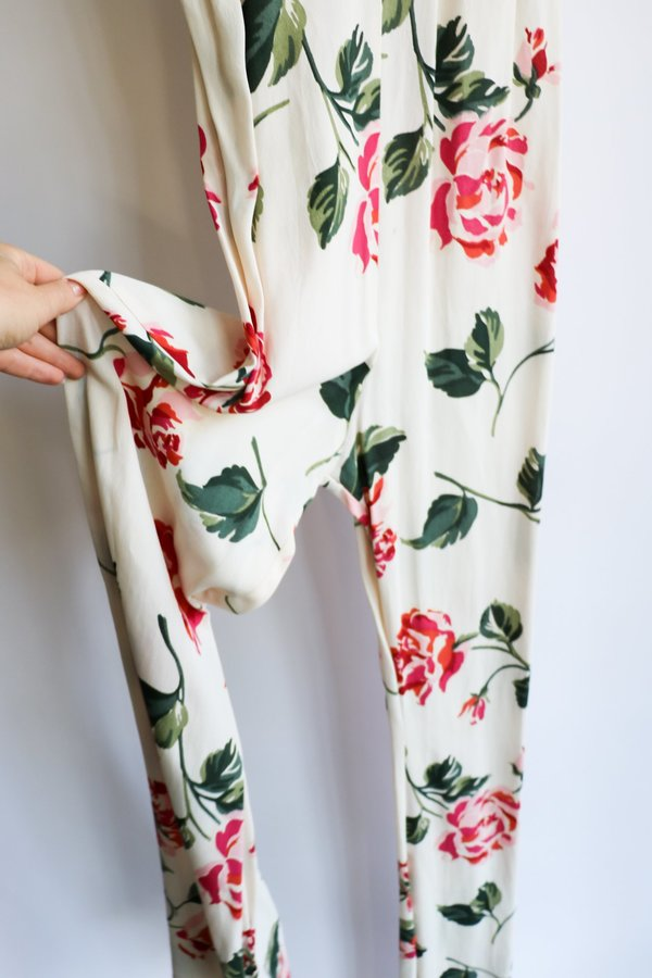 [pre-loved] Stone Cold Fox Floral Jumpsuit  - White Floral