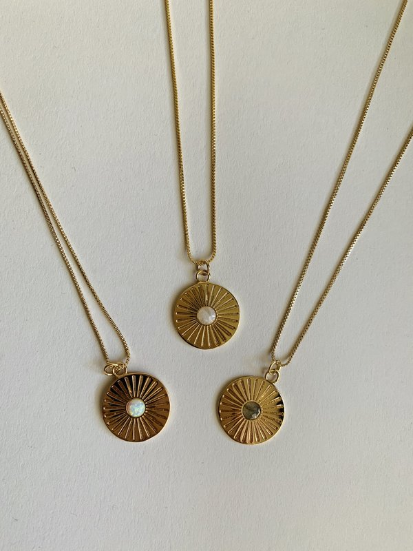Elizabeth Stone Radiant Charm Necklace - Moonstone
