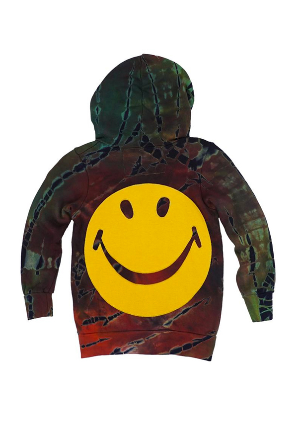 Kids Aviator Nation Smiley Tie Dye Hoodie - Multi