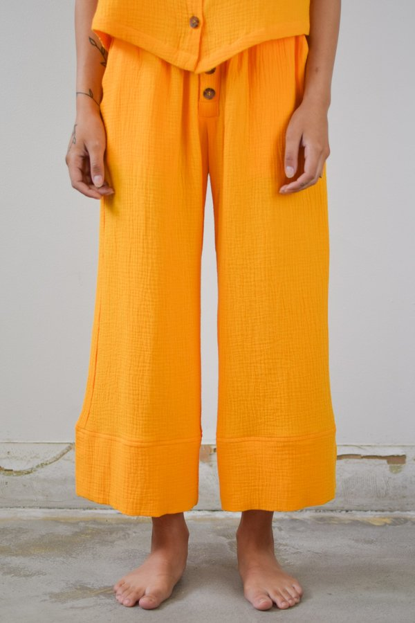 Back Beat Co. Organic Cotton Pajama Bottom - Saffron