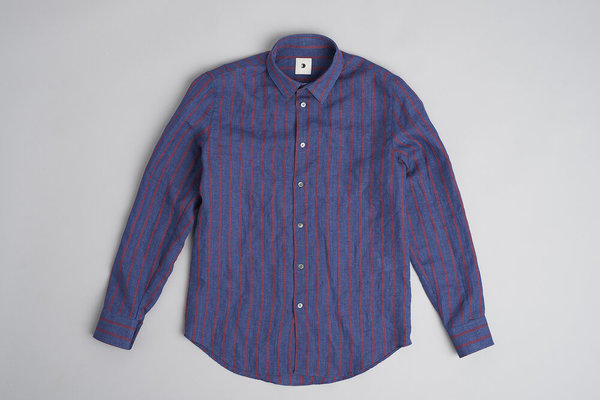 Delikatessen Feel Good Cotton Shirt - Navy/Red Stripe