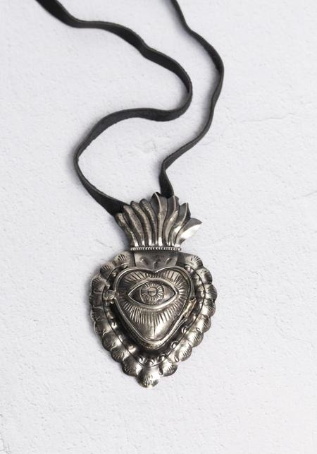 Tita Lopez Flaming Heart And Cosmic Eye Locket Necklace