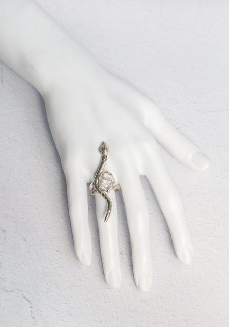 Tita Lopez Herkimer Quartz Adjustable Snake Ring - Sterling Silver