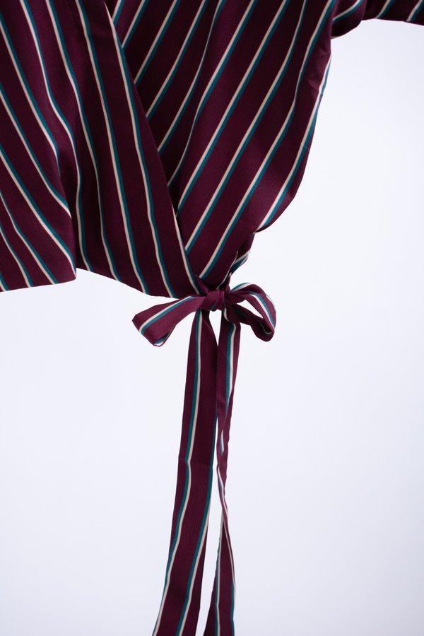 Conrado Catherine Surplice Top - Burgundy Stripe