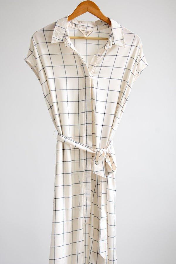 Conrado Danielle Shirt Dress - White/Navy Windowpane