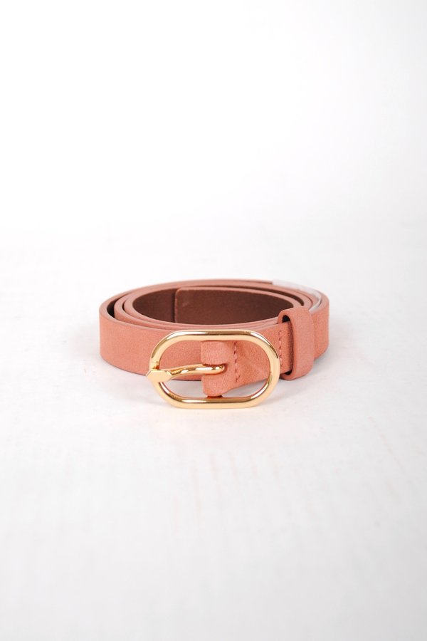 FRAME Denim Petit Oval Buckle Belt - Bright Terracotta