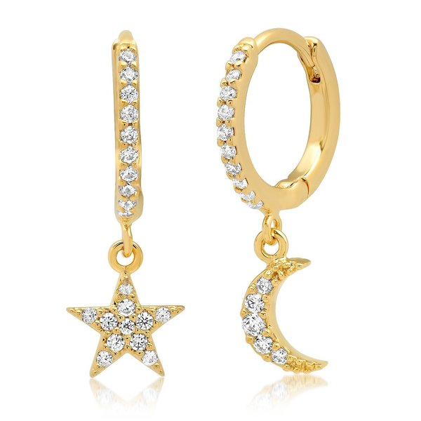 Tai Star And Moon Pave Huggie - Gold