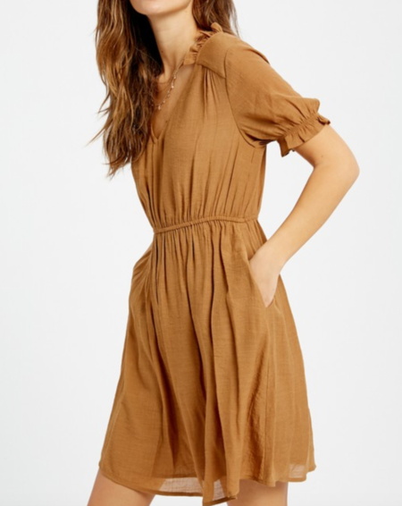Wishlist Peasant Mini Dress - Camel