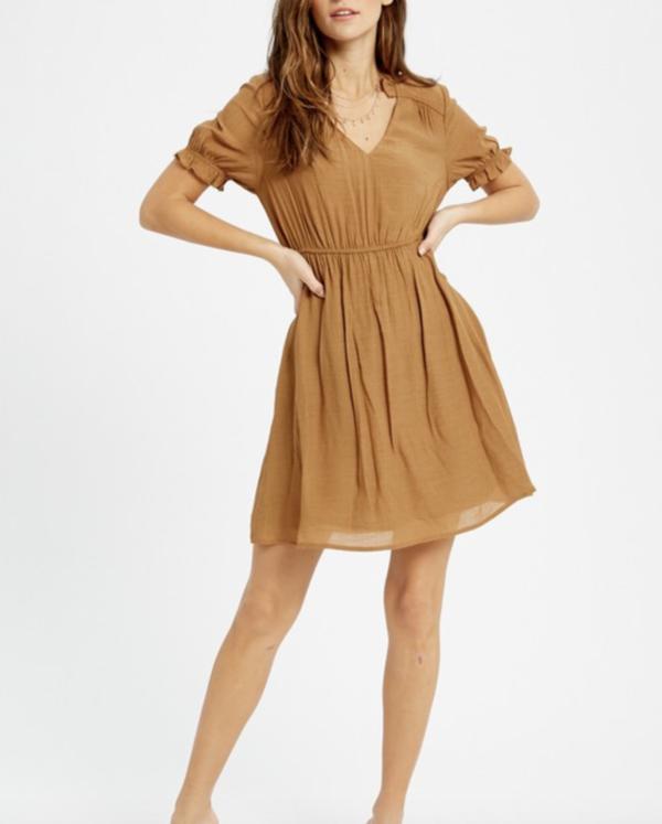 Wishlist Peasant Mini Dress - Camel