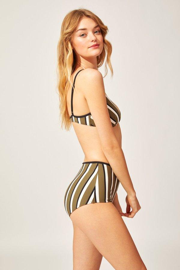 Solid and Striped Brigitte Bikini Bottom - Olive/Cream/Black Stripe