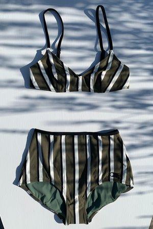 Solid and Striped Rachel Bikini Top - Olive/Cream/Black Stripe