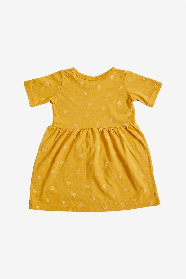 Kids North Of West Dots Organic Gathered Dress - Golden