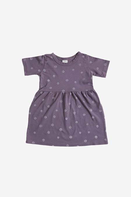 Kids North Of West Dots Organic Gathered Dress - Moonscape