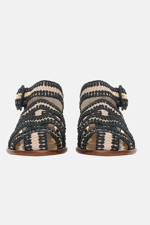 Zimmermann Wavy Raffia Slide - Natural/Black
