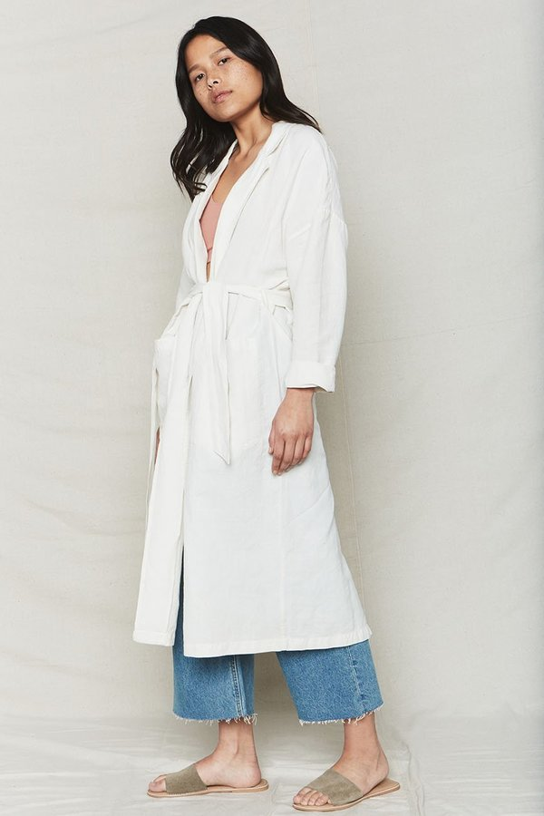 BACK BEAT RAGS Plant Dyed Linen Easy Robe - Natural