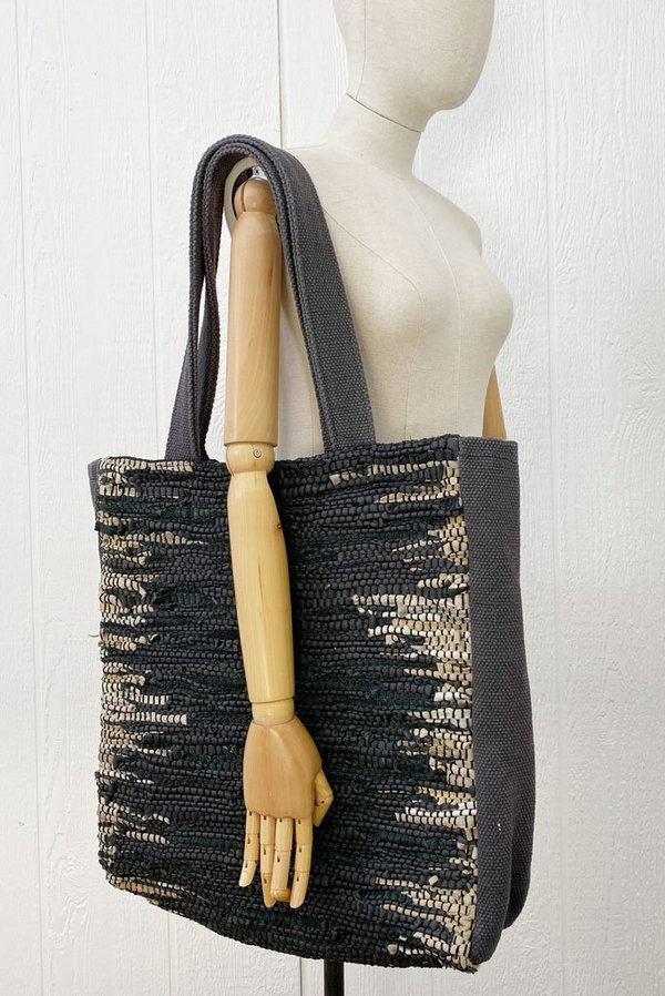 Ink And Alloy Large Woven Leather Tote - Taupe/Black Strips