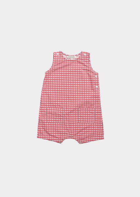 Kids Caramel Marylebone Baby Romper - Red Painted Check