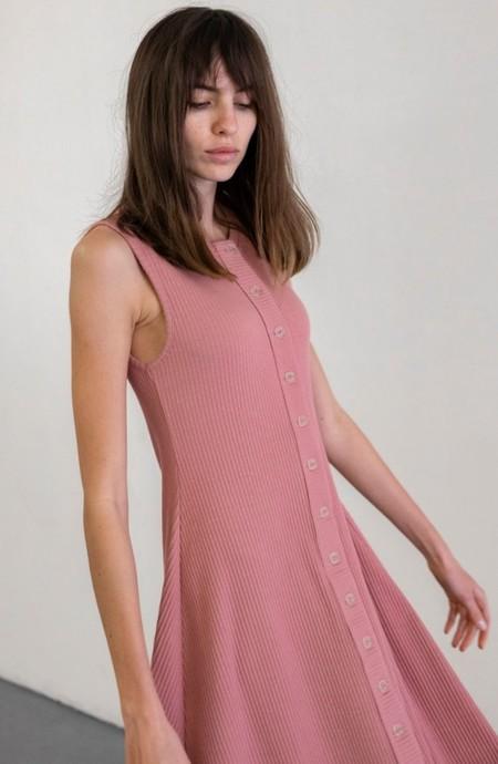 Delfina Balda Basic Color Sleeveless Dress - Pale Rose