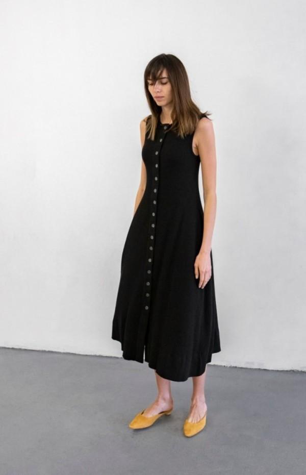Delfina Balda Basic Color Sleeveless Dress - Black