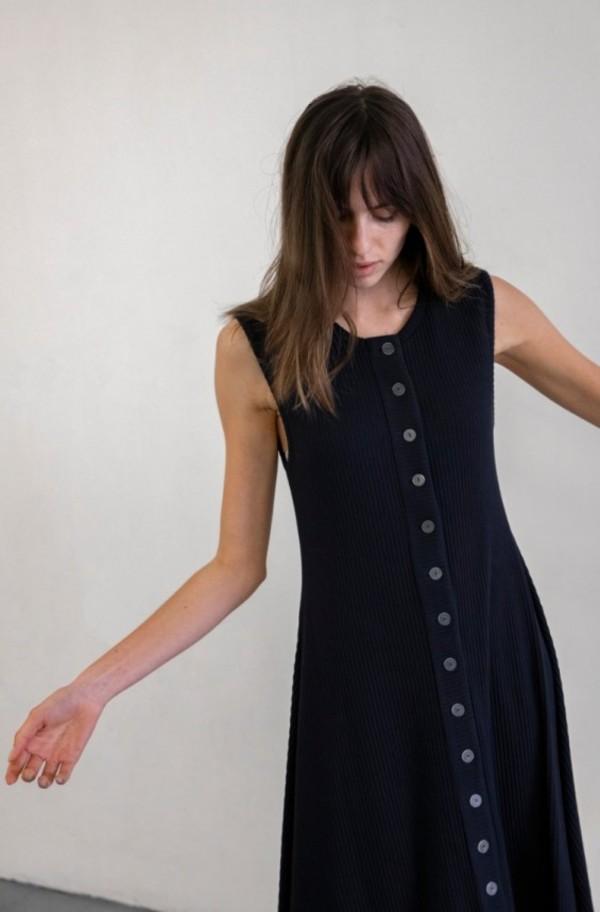 Delfina Balda Basic Color Sleeveless Dress - Navy