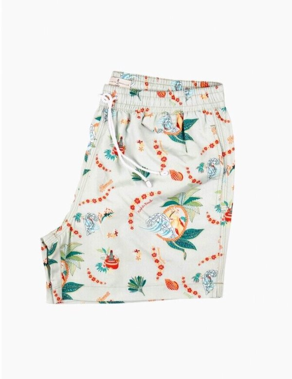 Cuisse de Grenouille Indien Swim Trunks - Green Hawaiian Print