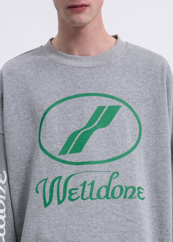 we11done WD Print Logo Long Sleeves - Grey