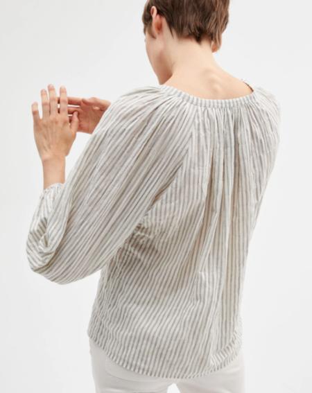Nili Lotan Brooke Top - Black/Natural Stripe