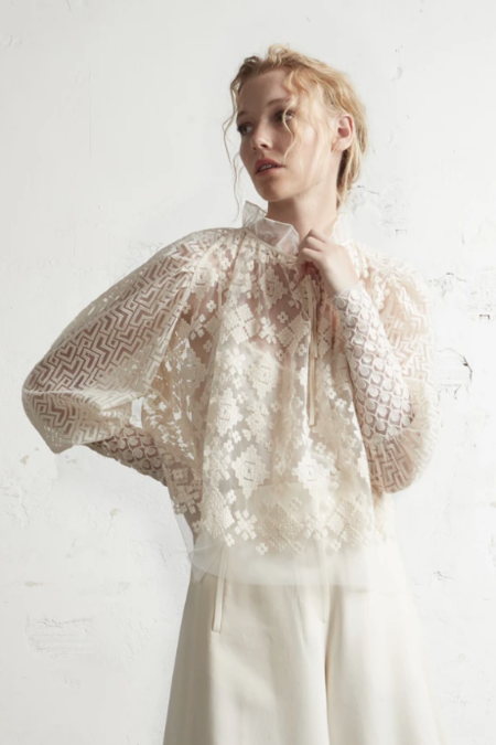 Psophia Embroidered Tulle Blouse - Ivory