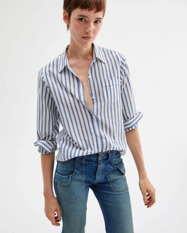Nili Lotan Shirt - Blue/White Stripe