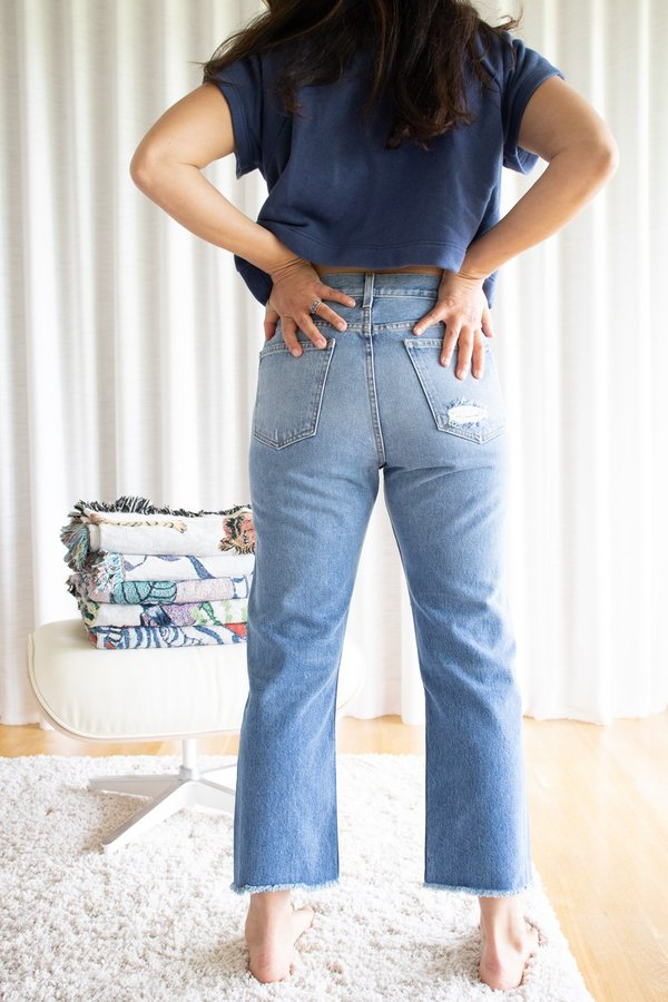 B Sides Jeans Marcel Relaxed Straight Jean with Distressed Knees - Murray Medium