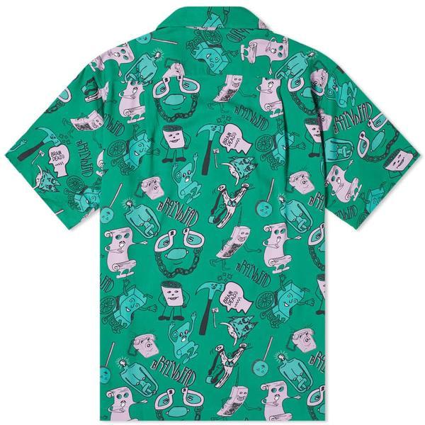 Brain Dead Caricatures Short Sleeve Hawaiian Shirt - Washed Forest