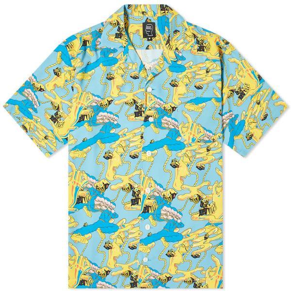 Brain Dead Jonny Negron Bondage Printed Short Sleeve Hawaiian Shirt - Blue