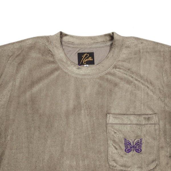 Needles S/s Papillon Embroidered Pocket Tee - Velour Mocha